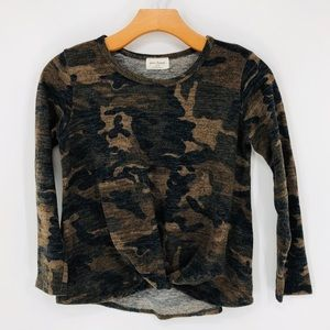 Free Kisses Camo Print Long Sleeve Top